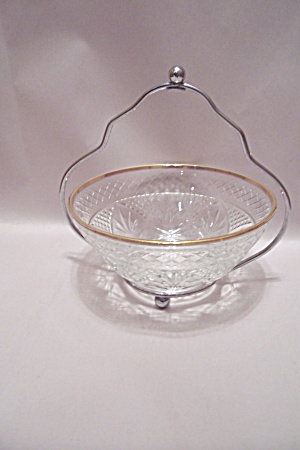 Crystal Pattern Glass Bowl With Silver Metal Holder