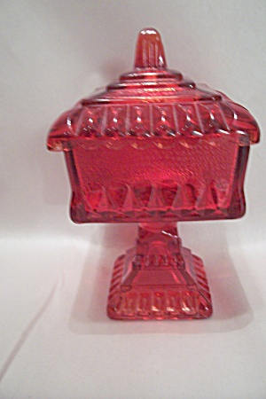 Red Glass Bride's Dish With Lid (Image1)