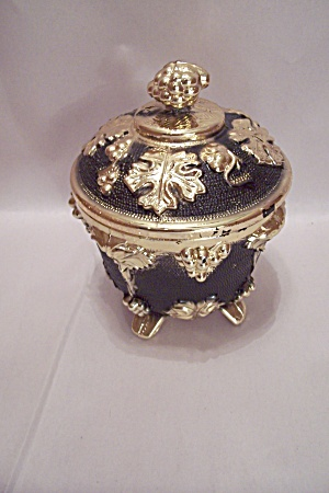 Cobalt Blue & Gilt Trimmed Glass Candy Dish