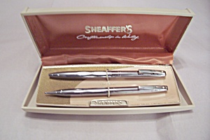 Sheaffer Vintage Chrome Pen & Pencil Set In Case