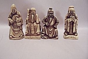 Set Of Four Ivory Oriental Male Elders Figurines