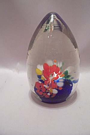 Cased Cane Flowers & Cobalt Blue Glass Paperweight