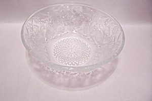 Crystal Daisy Floral Pattern Glass Serving Bowl