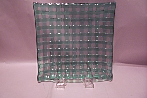 Green Glass Basket Weave Pattern Dish