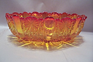Amberina Oval Glass Footed Bowl