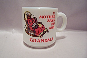 Fire King/Anchor Hocking White Glass Grandma Themed Mug (Image1)