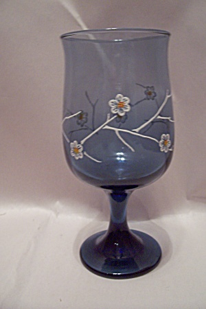 Handblown Light Blue Flower Decorated Wine Glass