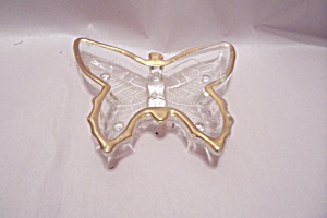 Gilt Trimmed Crystal Art Glass Butterfly Dish (Image1)