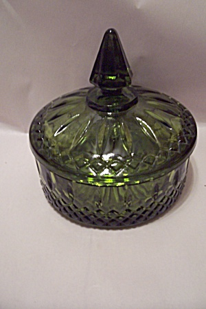 Green Glass Candy Dish With Lid