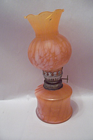 Miniature Hand Blown Orange  Art Glass Miniature Lamp (Image1)
