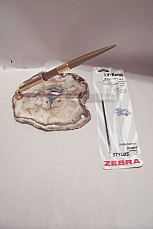 Polished Geode Slab With Ballpoint Pen Desk Set