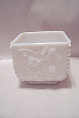 Square Grape Pattern Footed Milk Glass Bowl