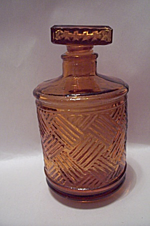 Amber Pattern Glass Decanter