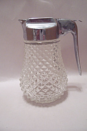 Crystal English Hobnail Glass Syrup Dispenser