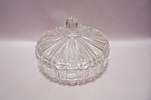 Anchor Hocking/fire King Crystal Glass Candy Dish W/lid