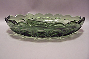 Green Thumbprint Pattern Glass Divided Oval Dish