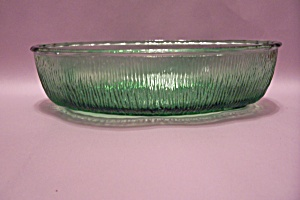 Green Pattern Glass Oval Bowl