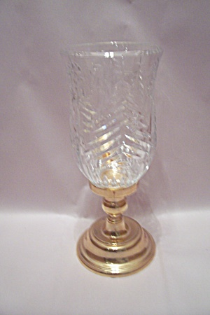 3 Piece Crystal Glass And Goldttone Metal Candle Holder