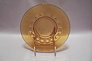 Honey Amber Thumbprint Pattern Glass Snack Plate