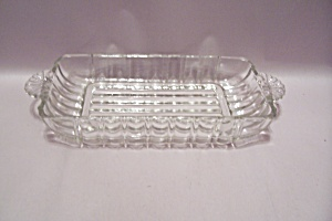 Crystal Pattern Glass Relish Dish With Tab Handles