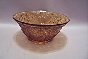 Amber Depression Glass Dessert/Berry Bowl (Image1)