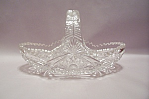 Crystal Cut Glass Oval Basket