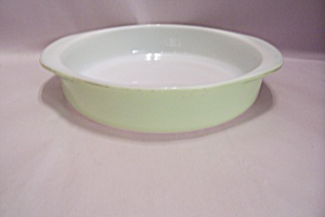 "Pyrex Lime Green Trimmed 8"" Oven Proof Casserole"
