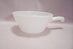 Milk White Glass French Handled 1 Pint Casserole
