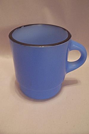 Fire King Blue & Black Trimmed Glass Mug (Image1)