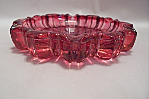 Pinkish-red Pattern Glass Ash Tray