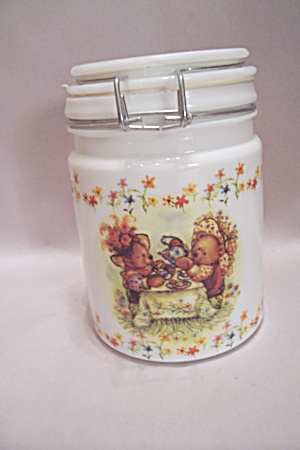 Hallmark Bear Decorated Glass Lidded Cannister