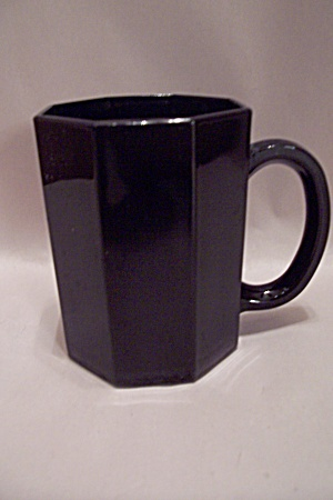 French 8-sided Black Glass Mug
