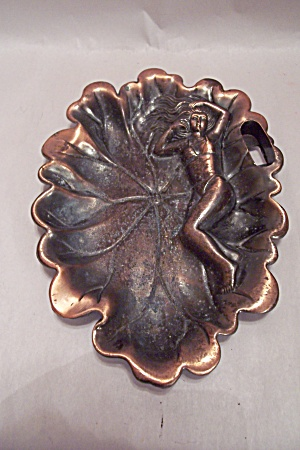 Bikini Clad Girl Antiqued Copper Ash Tray
