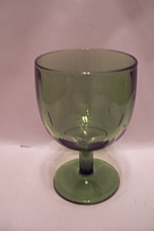 Green Thumbprint Pattern Glass Goblet