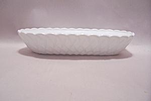 Milk Glass Basket Weave Pattern Oval Bowl (Image1)