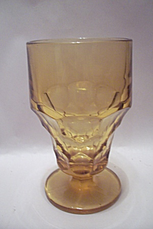 Anchor Hocking Amber Pedestal Glass Tumbler
