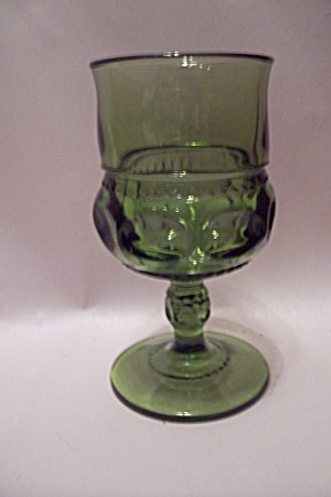 Light Green Pattern Glass Goblet/pedestal Tumbler