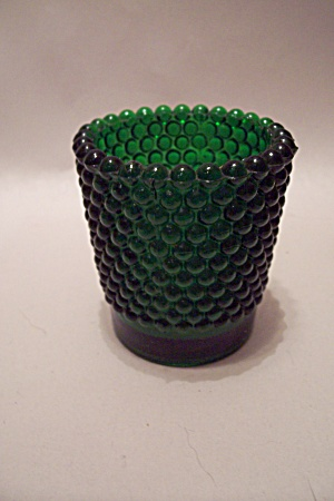 Emerald Green Hobnail Glass Toothpick Holder