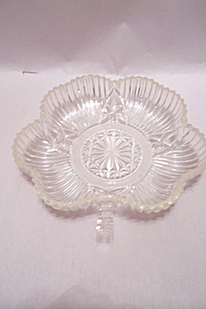 Crystal Pattern Glass Leaf Shaped Candy Dish