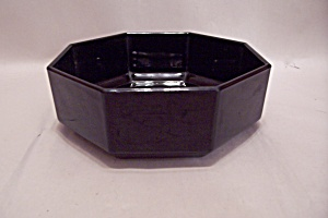 Black Glass 8-sided Bowl