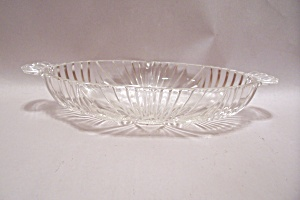 Crystal Pattern Glass Oval Relish Dish