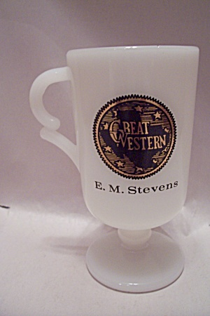 Great Western Advertising Milk Glass Pedestal Mug