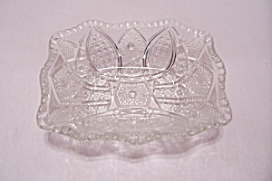 Crystal Pattern Glass Rectangular Candy Dish