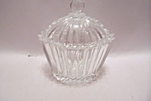 Crystal Cut Glass Oval Sugar Bowl With Lid