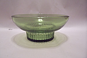 Avocado Green Glass Footed Bowl