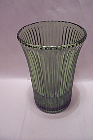 Green Ribbed Pattern Glass Vase