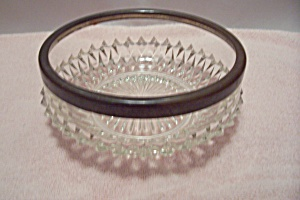 Crystal Glass Diamond Pattern Bowl With Metal Rim