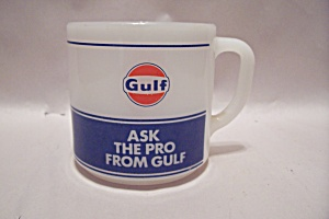 Gulf Advertising Milk Glass Mug