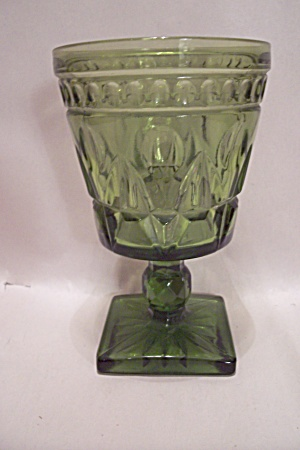 Avocado Green Pattern Glass Pedestal Tumbler