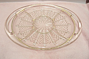 Crystal Pattern Glass Oval Divided Serving Tray